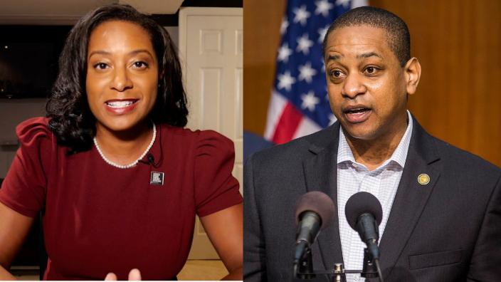 Virginia gubernatorial candidates Del. Jennifer Carroll Foy and Lt. Gov. Justin Fairfax.