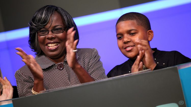 Voletta Wallace & CJ Wallace Ring The NASDAQ Stock Market Opening Bell