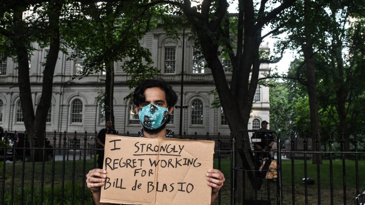 Defund Police Protestors Camp Outside NYC City Hall