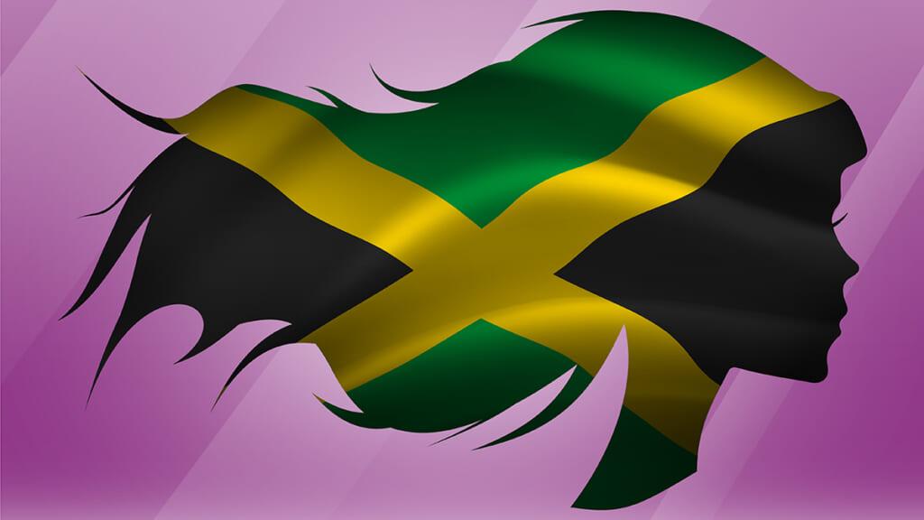 Black woman hair Jamaica flag