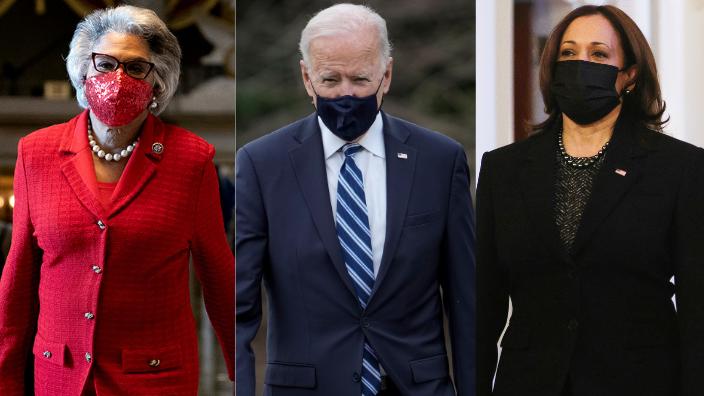 Rep. Joyce Beatty, President Joe Biden and Vice President Kamala Harris