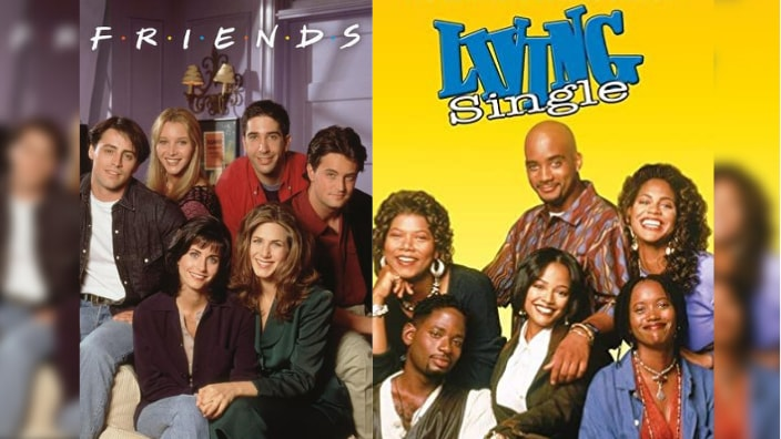 """Posters for TV shows """"Friends"""" and """"Living Single"""" x theGrio.com"""
