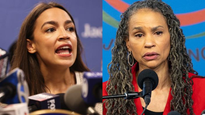 Congresswoman Alexandria Ocasio-Cortez (left) and New York City mayoral candidate Maya Wiley (right)