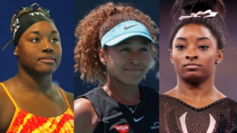 Left to right: Swimmer Simone Manuel; Tennis player Naomi Osaka; and Gymnast Simone Biles