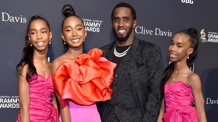 Diddy poses with three daughters in stunning Vanity Fair shoot
