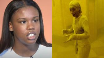 Noelle Borders, left, picture of her mother, 9/11 survivor Marcy Borders, theGrio.com