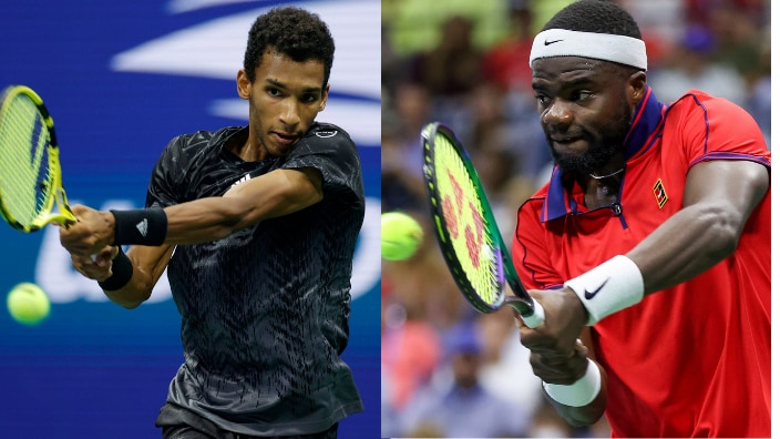Canadian tennis player Felix Auger-Aliassime and American player Frances Tiafoe compete at US Open.