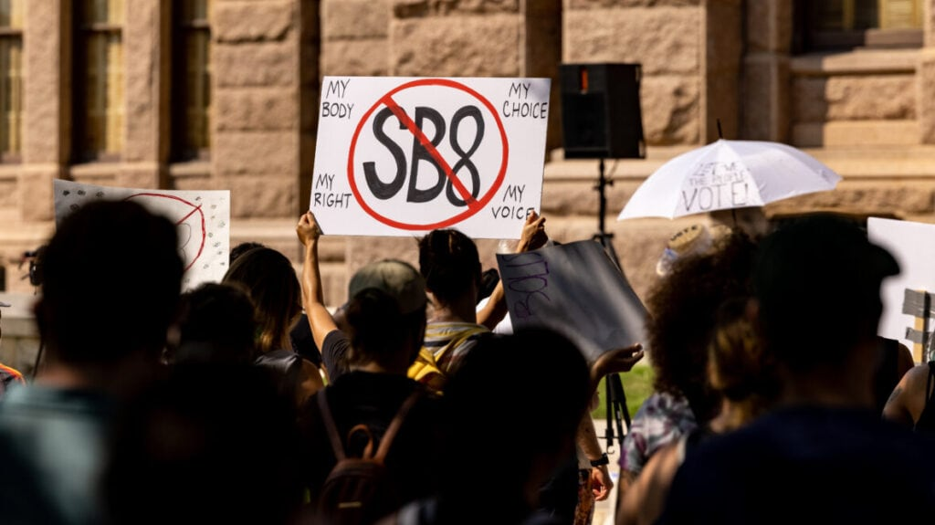 Abortion rights activists rally at the Texas State Capitol